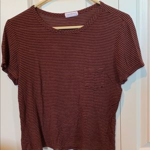 Striped Orange and Black Shirt with Chest Pocket